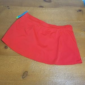 New Tropical Escape Fiery Red Swim Skirt Missy 12